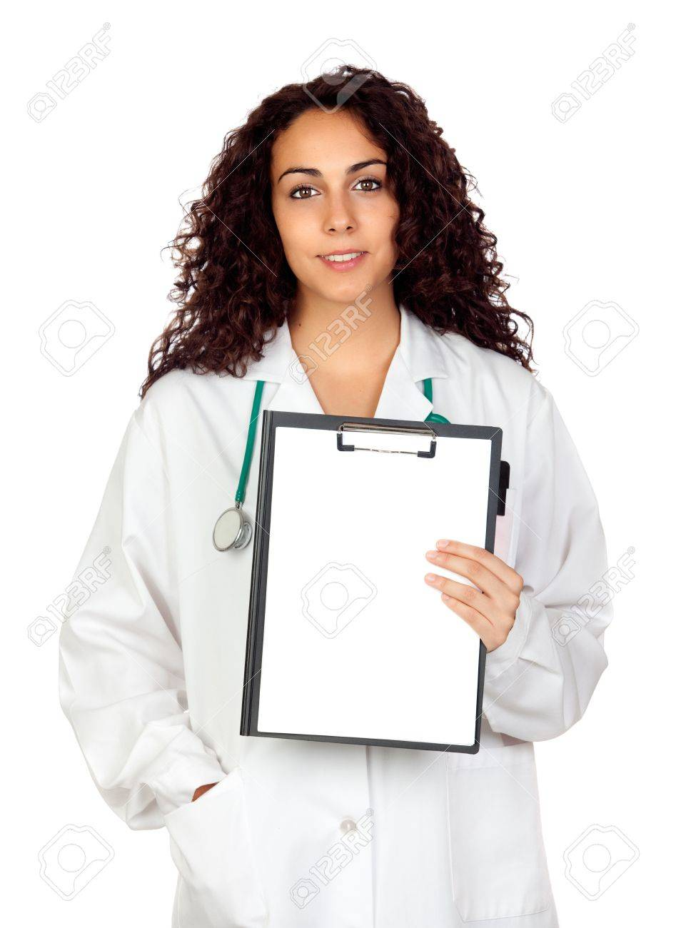 Brunette spanish doctor woman with a clipboard isolated on white