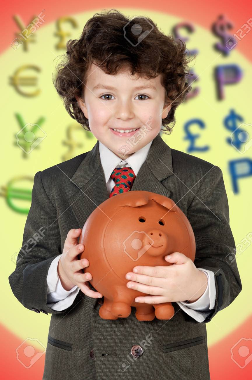 adorable child with its savings in its moneybox of piggy a over white background Stock Photo - 17405694