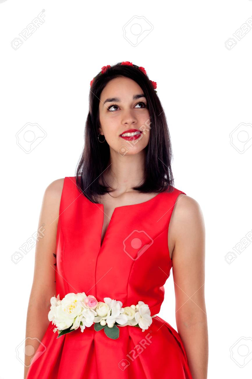 Adorable Brunette Girl With A Elegant Red Cocktail Dress Isolated ...