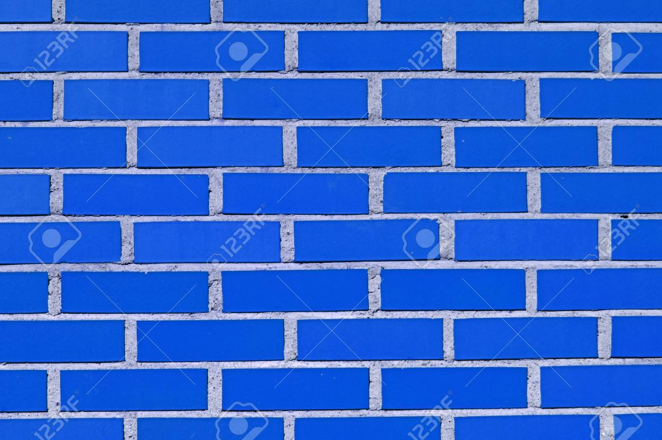 Detail Of A Blue Brick Wall For Wallpaper