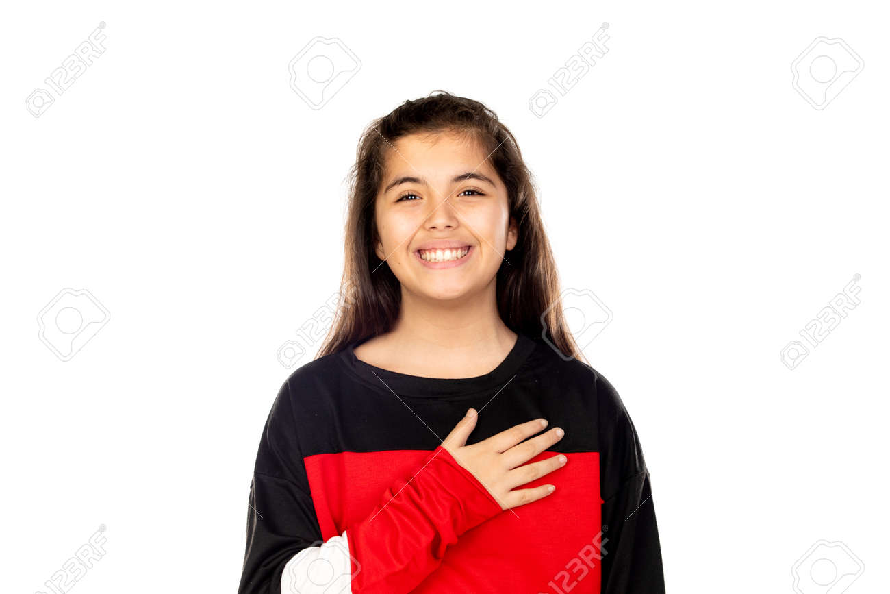 Adorable young girl isolated on a white background - 146602457