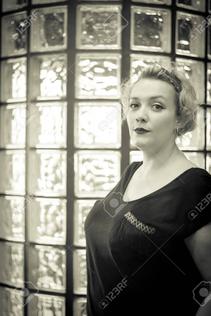 Portrait Of Blonde Woman With Short Hair And Pinup Style Relaxed Stock Photo Picture And Royalty Free Image Image 119257896