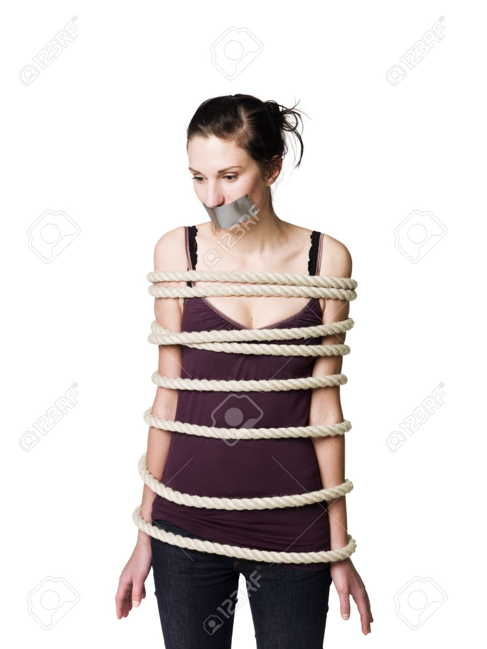 Tied up woman with tape over her mouth Stock Photo - 4396089
