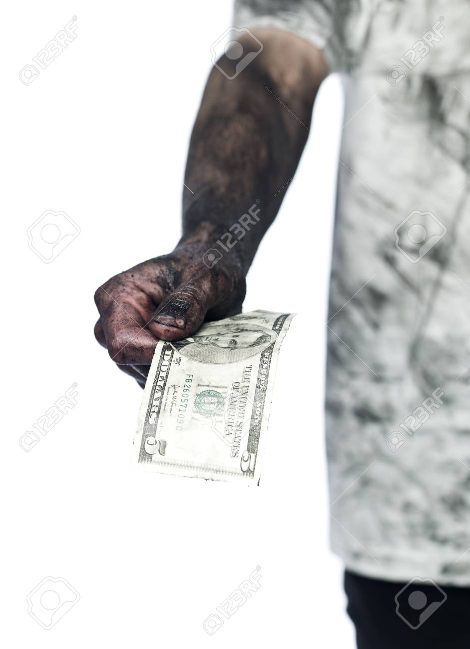 Dirty hand holding a five dollar bank note Stock Photo - 4852593
