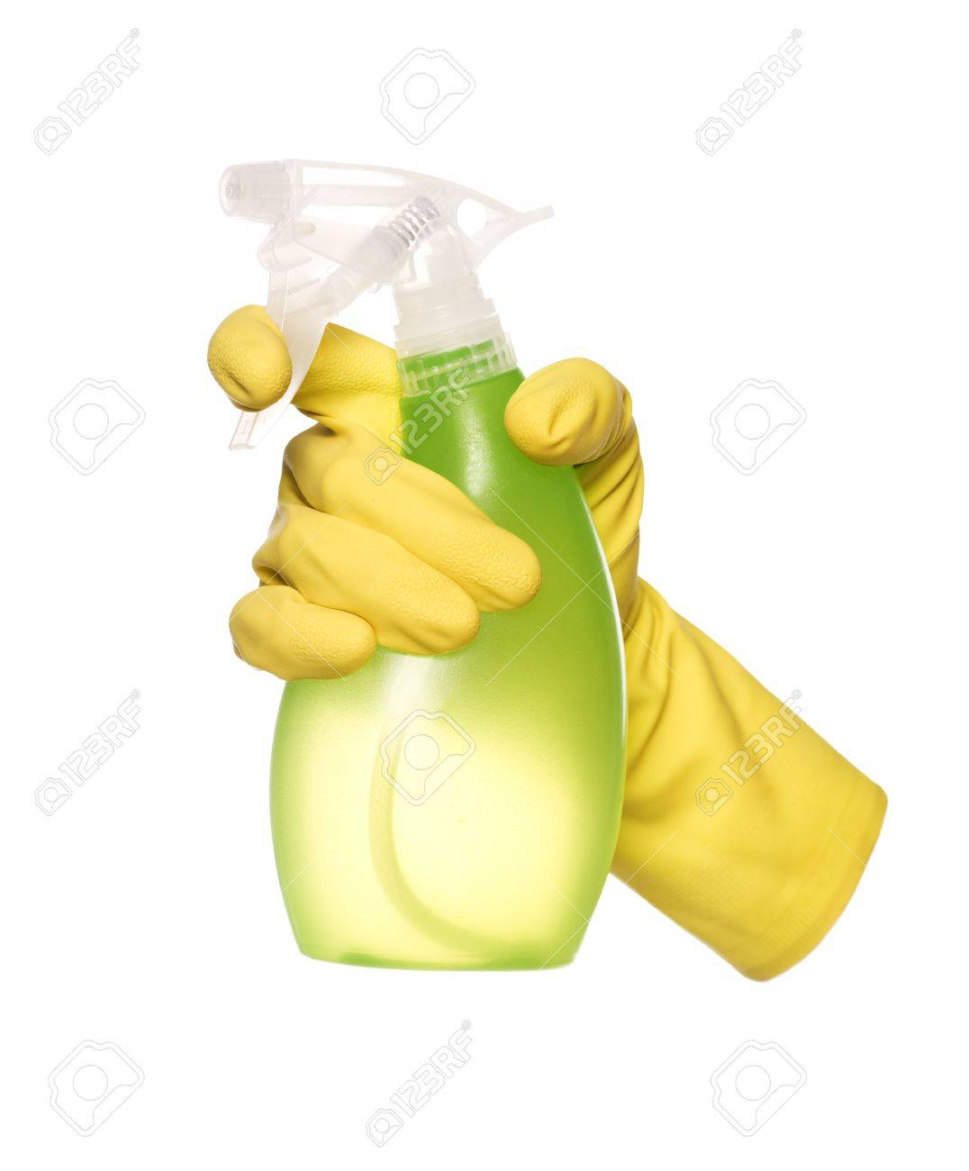 Yellow Protection Glove holding a Spray Bottle Stock Photo - 5375434