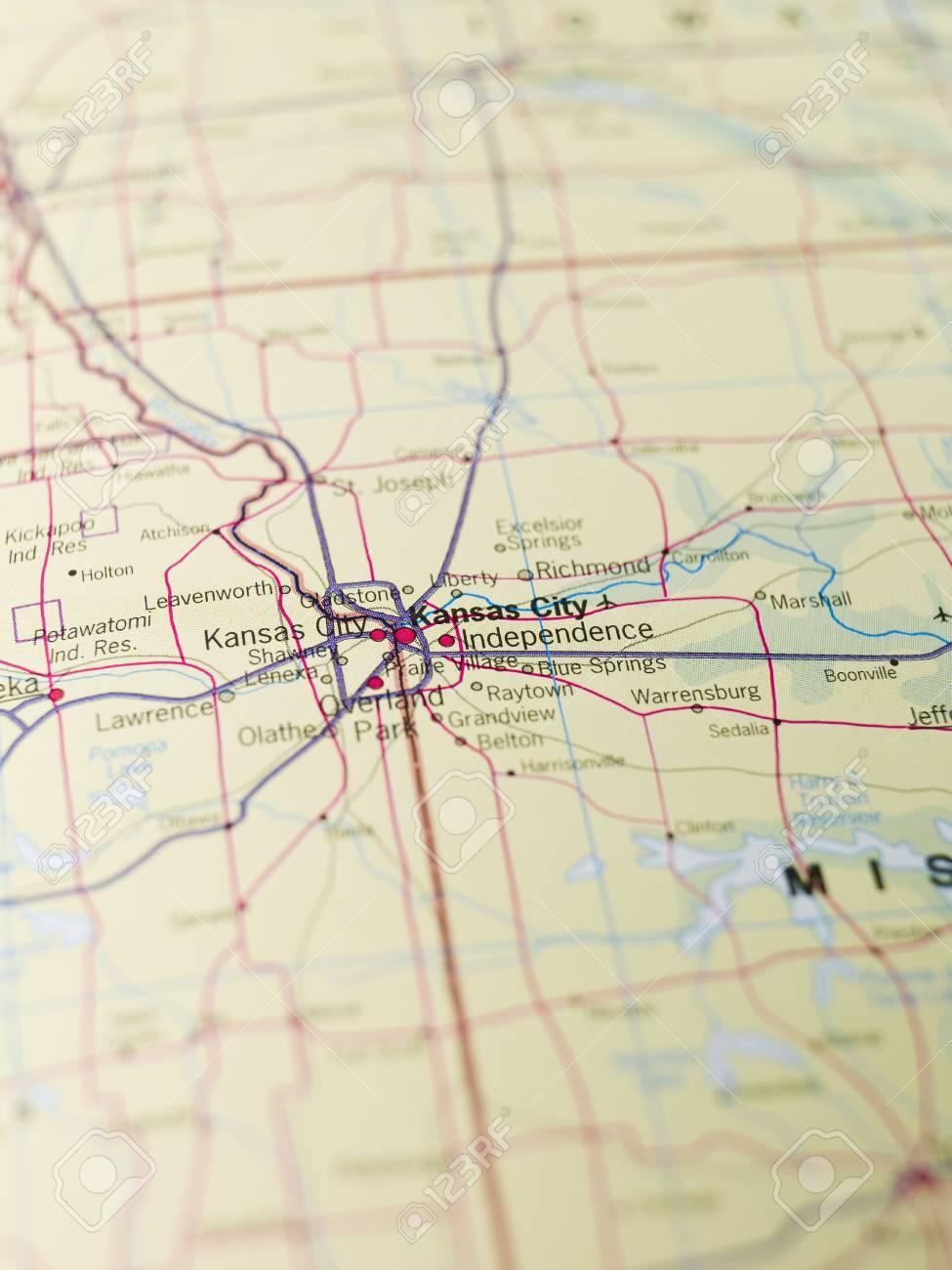 Map of Kansas City in USA