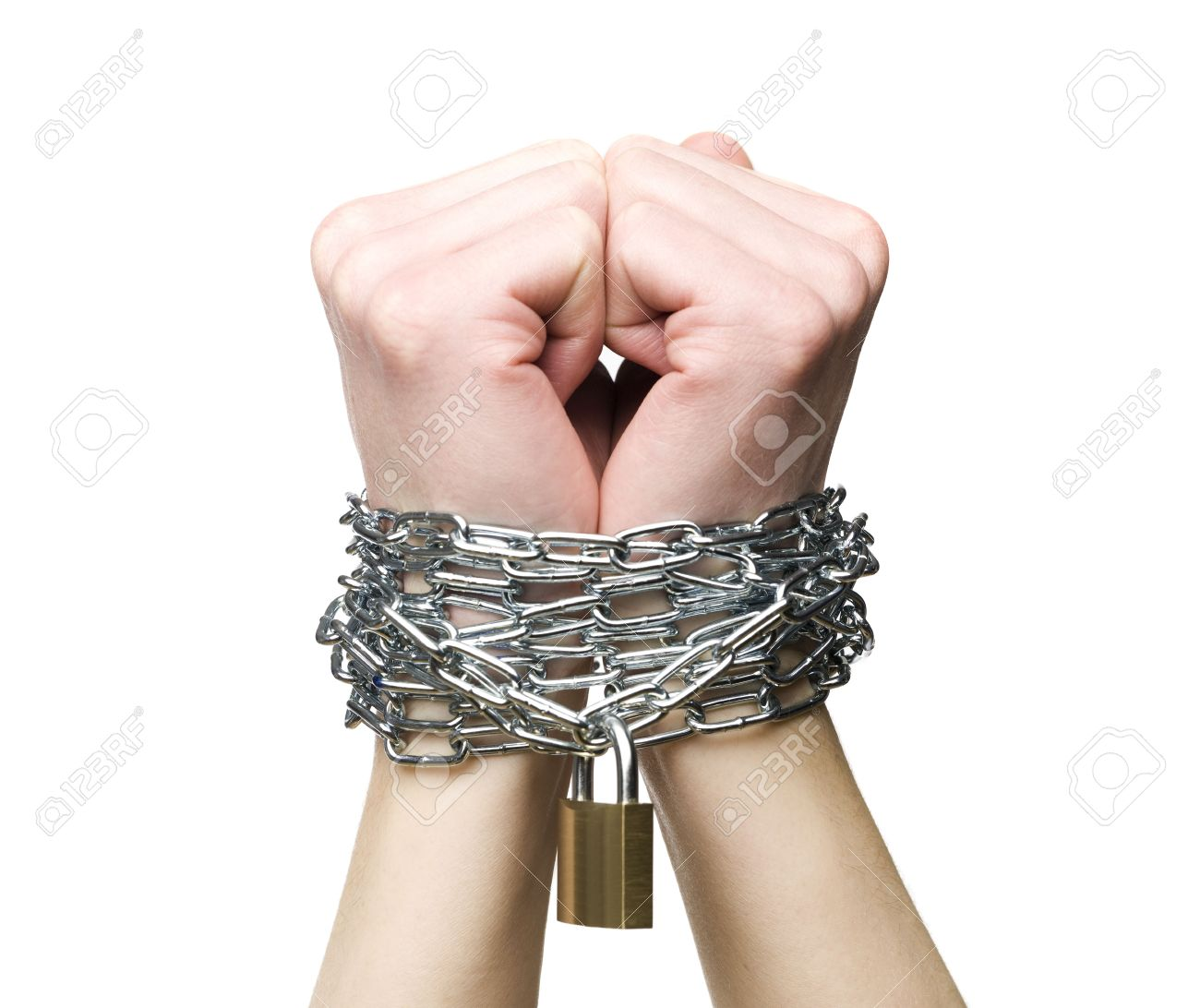 Hands chained together isolated on a white background Stock Photo - 6090932