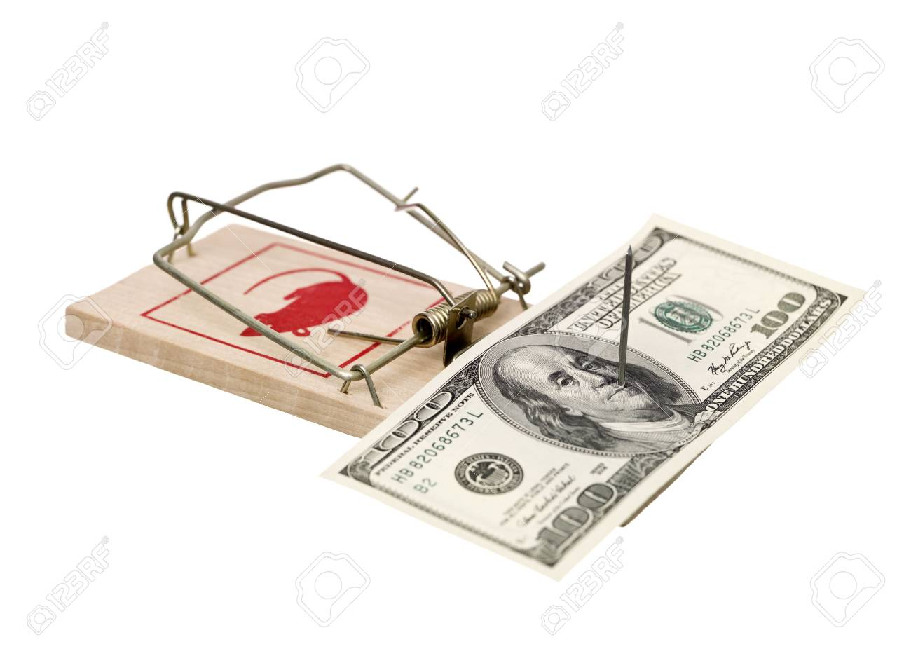 Mousetrap with dollars isolated on white background Stock Photo - 6827841