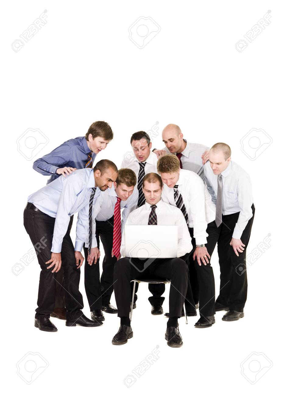 Group of businessmen in front of a laptop isolated on white background Stock Photo - 6878020