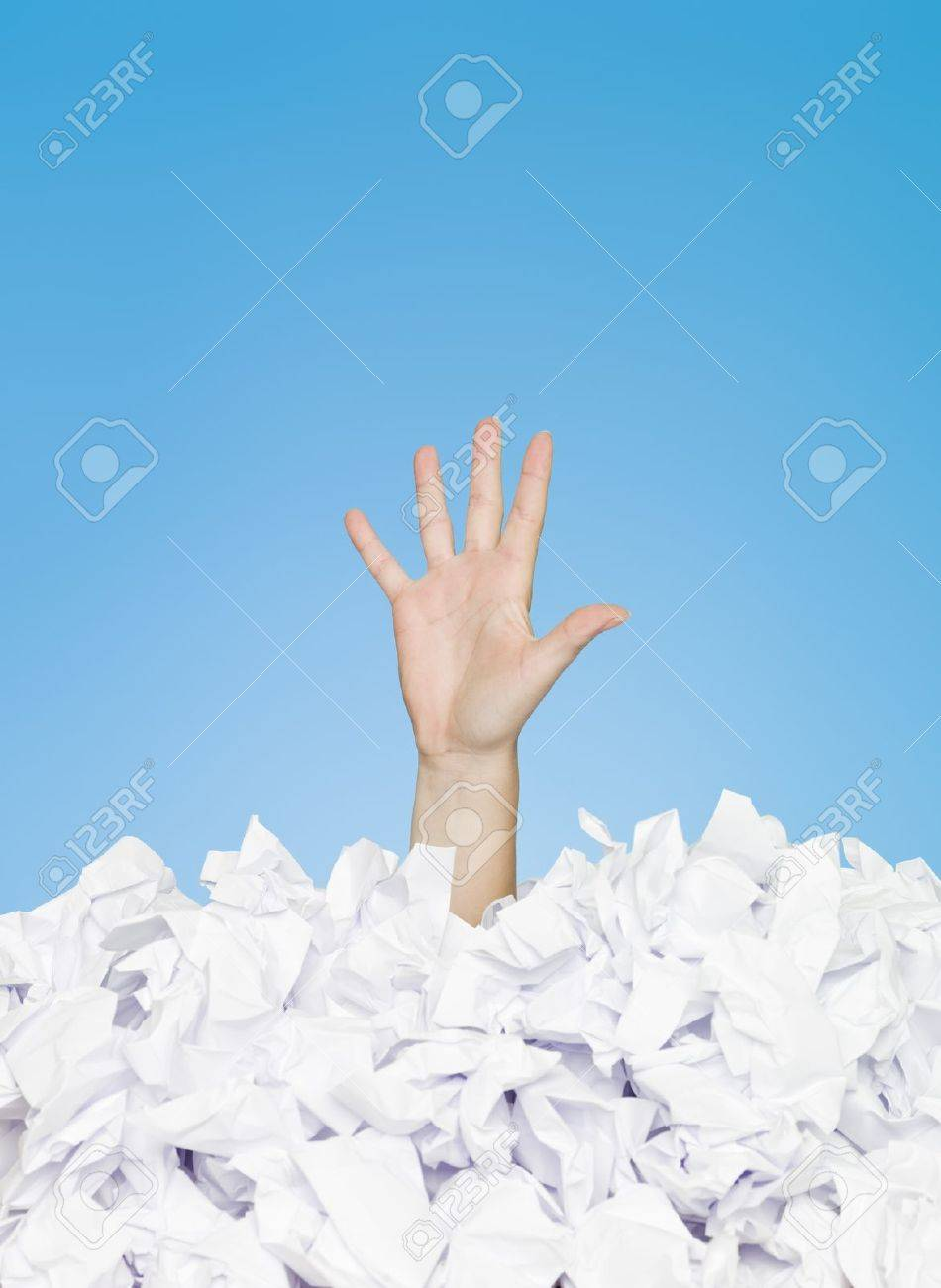 Human hand buried in white paper Stock Photo - 7155276