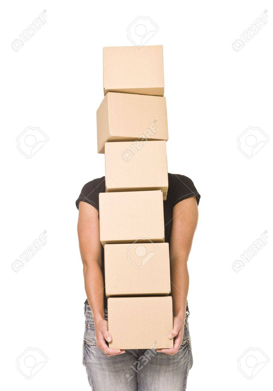 Woman carrying cardboard boxes isolated on white background Stock Photo - 7570724
