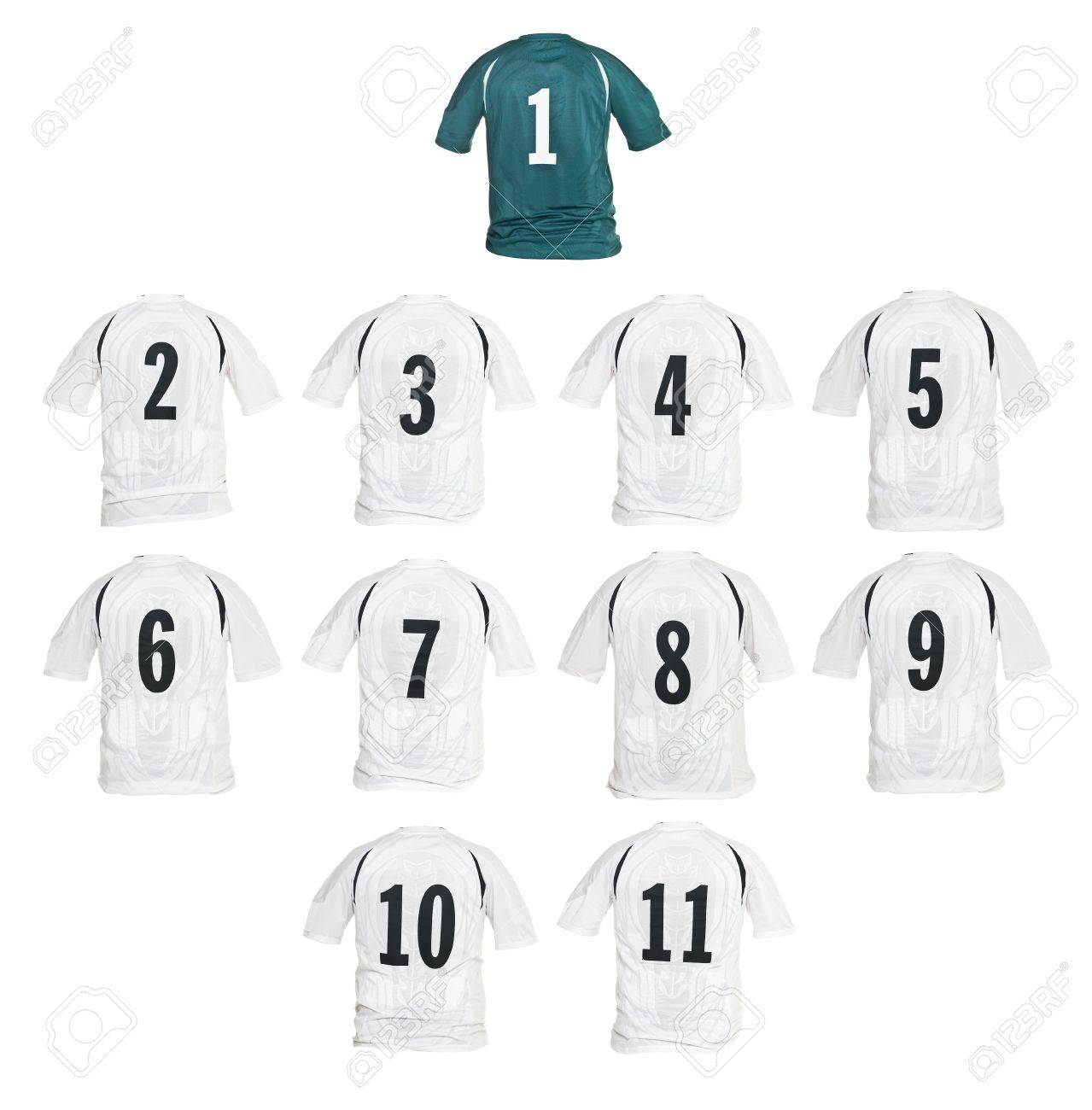 Football shirts formed as a team isolated on white background Stock Photo - 7780282