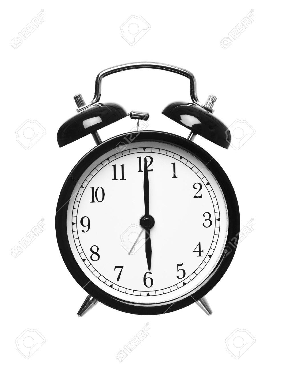 Alarm clock shows six o`clock isolated on white background Stock Photo - 7977519