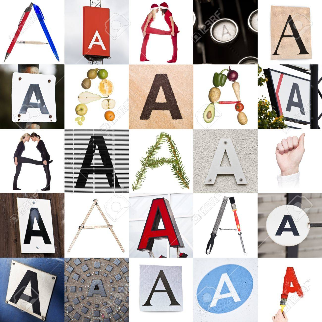 collage with 25 images with letter a stock photo 8507240
