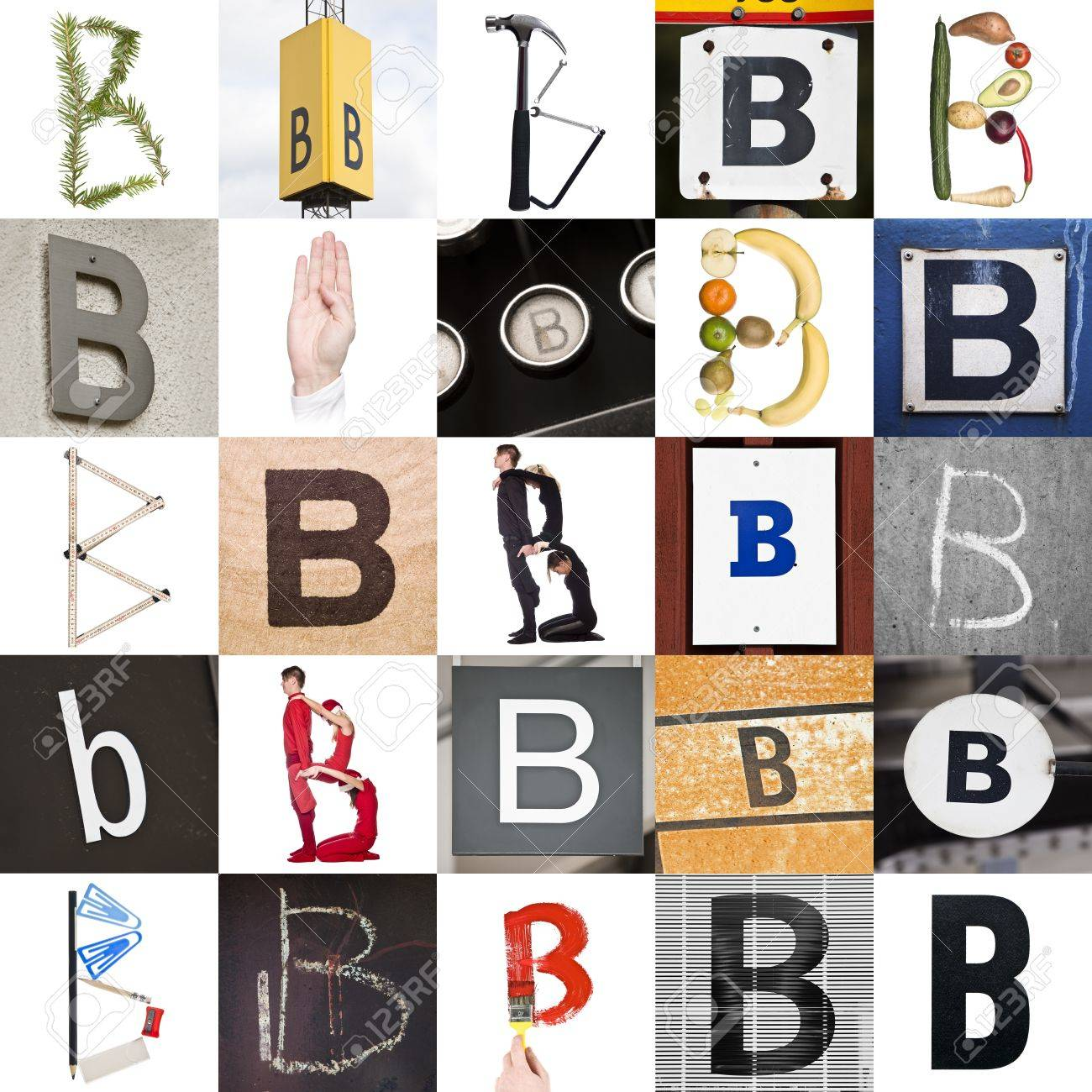 collage with 25 images with letter b stock photo 8507241