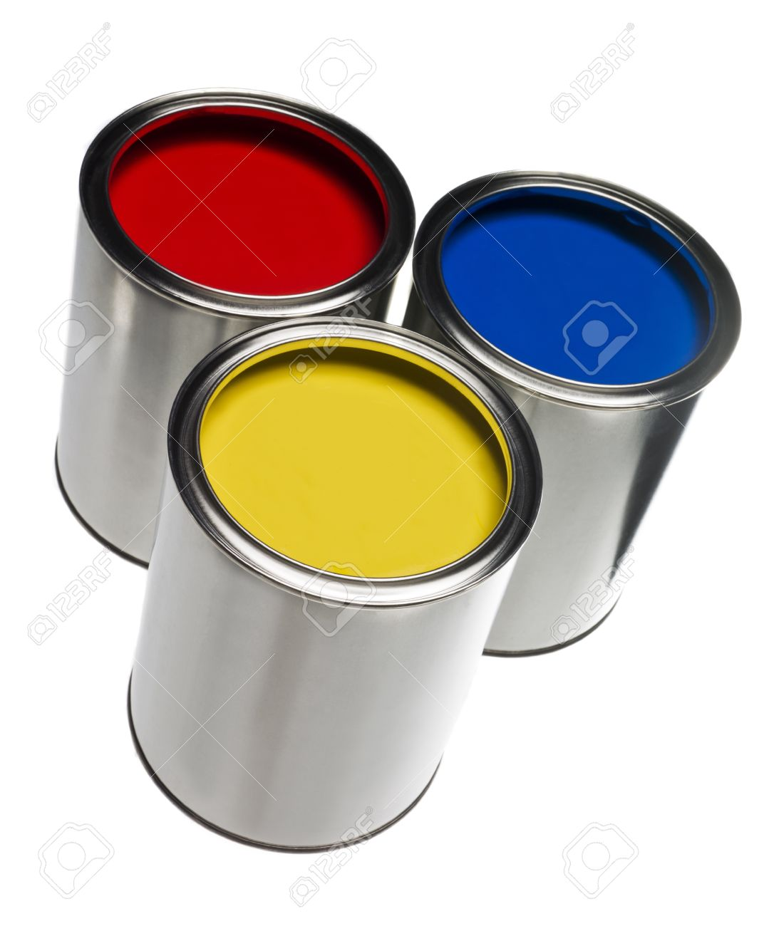 Three Paint cans isolated on white background Stock Photo - 8621583