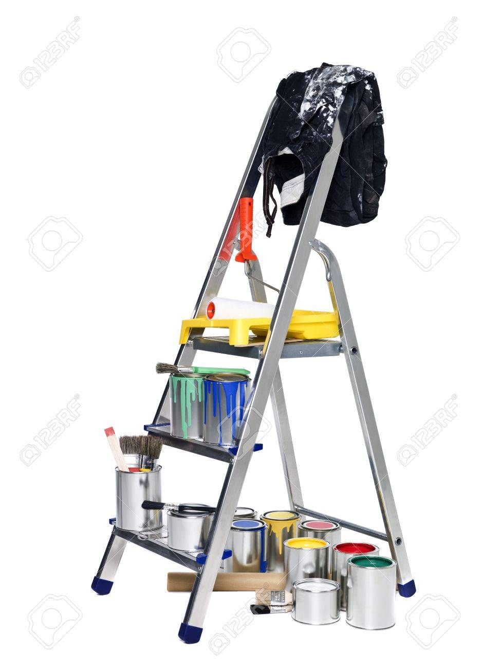 Stepladder with paint cans and brushes isolated on white background Stock Photo - 8732136