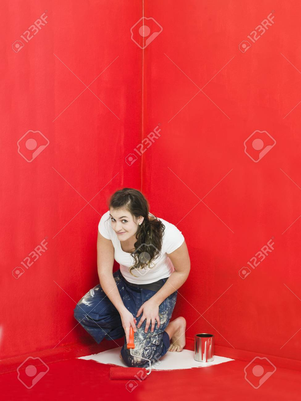 Girl has painted herself in the corner Stock Photo - 8930491