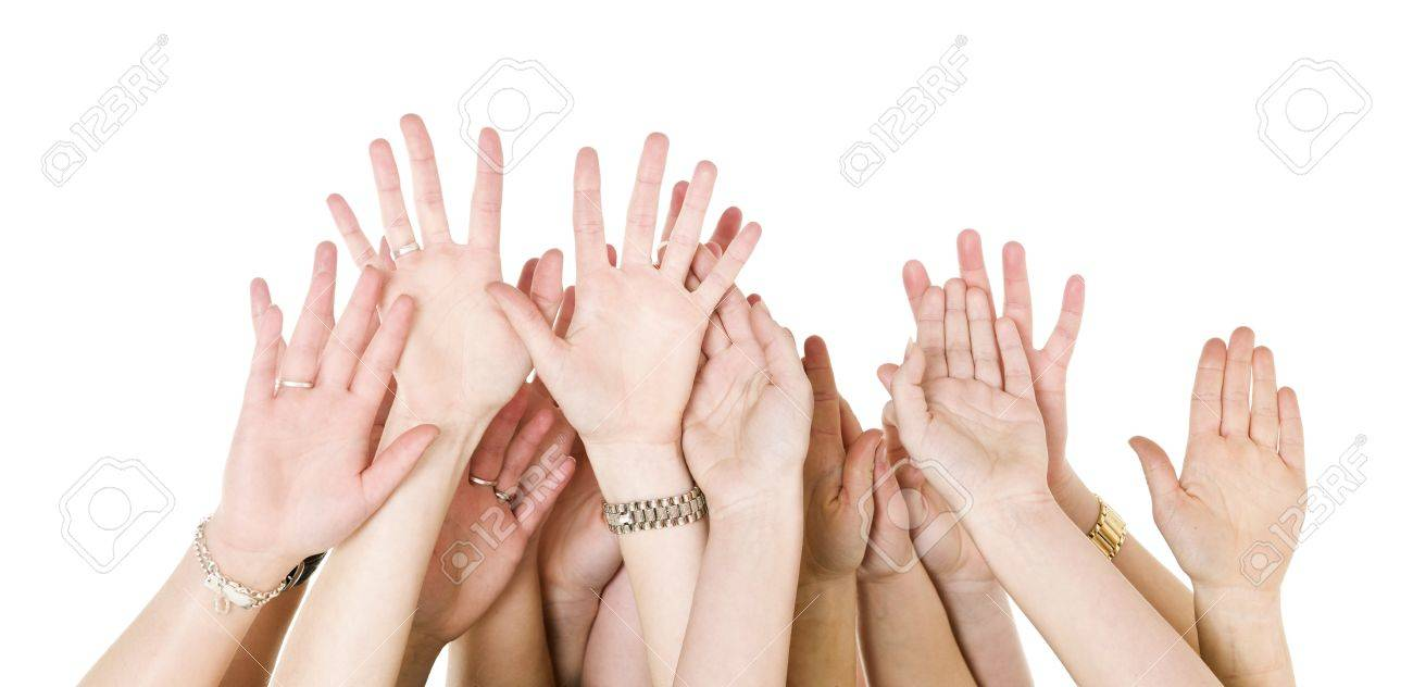 Human Hands Raised isolated on White Background Stock Photo - 9193955