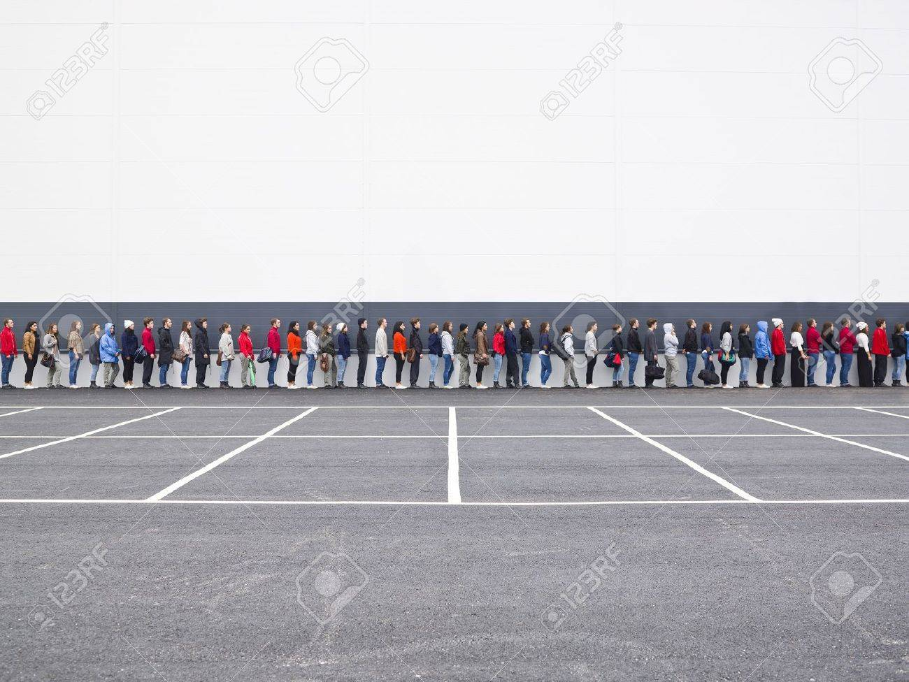 Large group of people waiting in line Stock Photo - 10696270