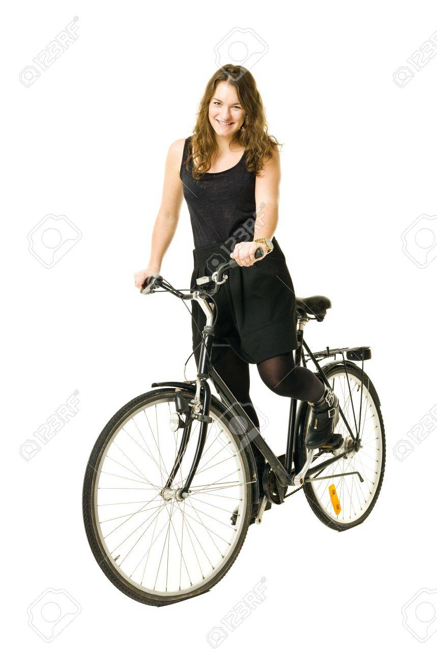 Woman on a bicycle isolated on white background Stock Photo - 11741399