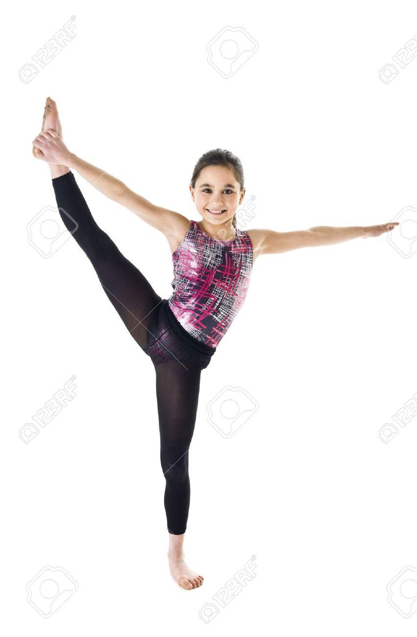 Nude young girl bending over