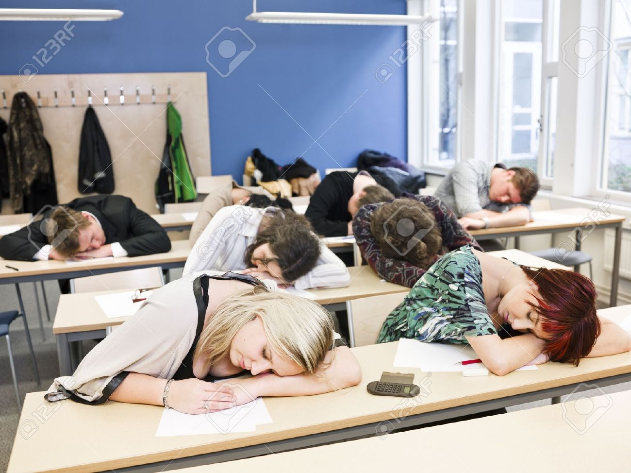 large group of sleeping students stock photo picture and royalty