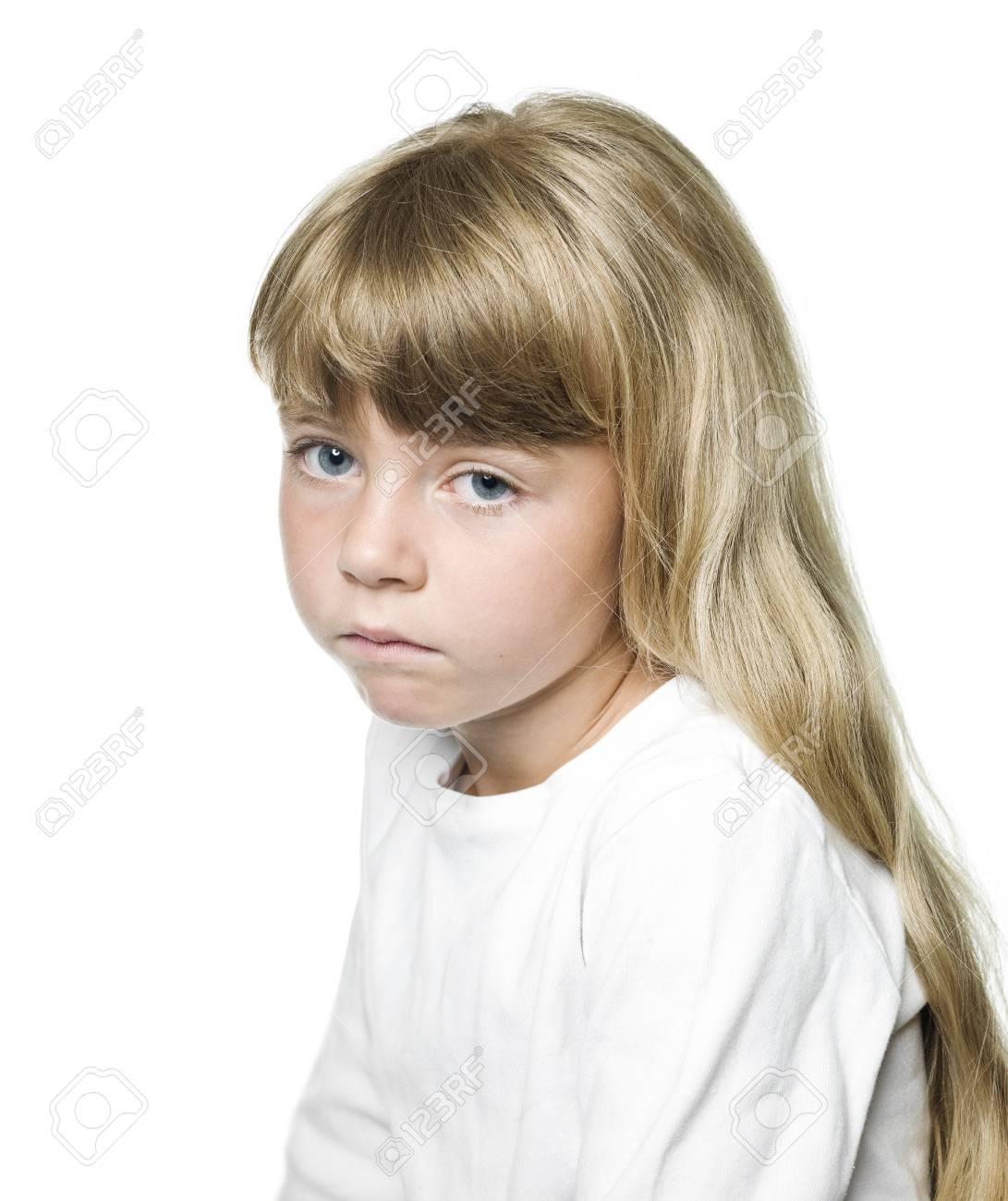 Portrait of a Sad girl on white background Stock Photo - 14767913