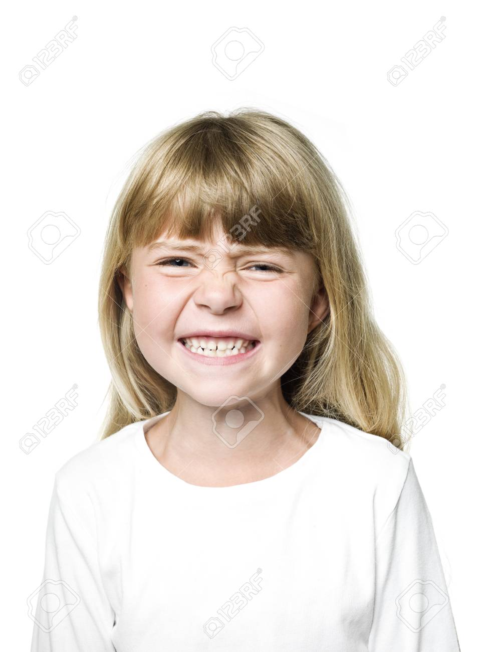 Portrait of an Angry  Girl on white background Stock Photo - 14767921