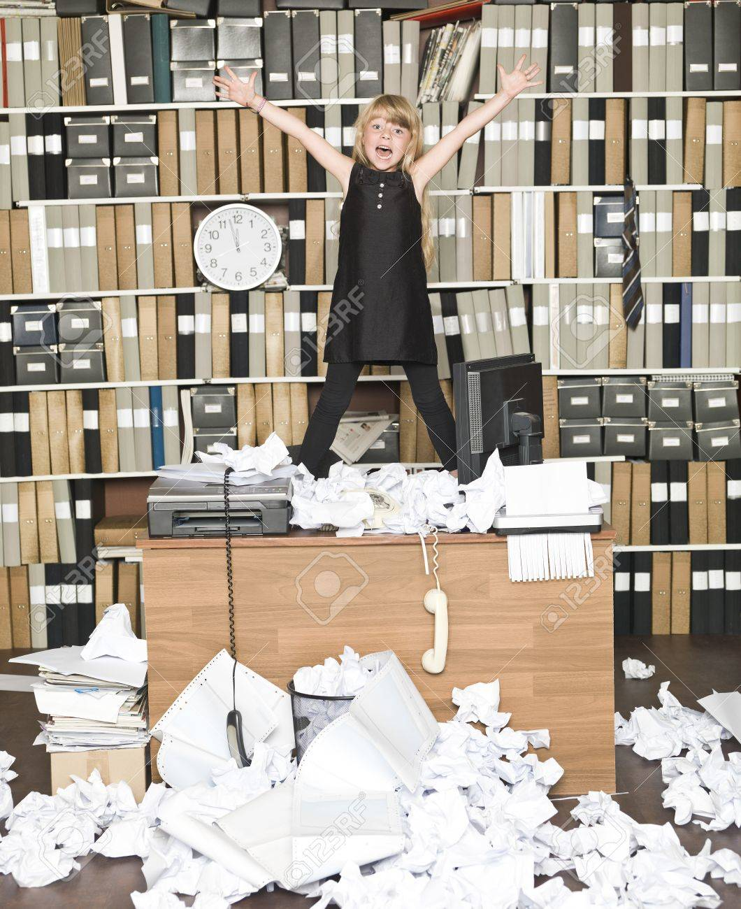 messy office pictures. Young Happy Business Girl At A Messy Office Stock Photo - 14903400 Pictures