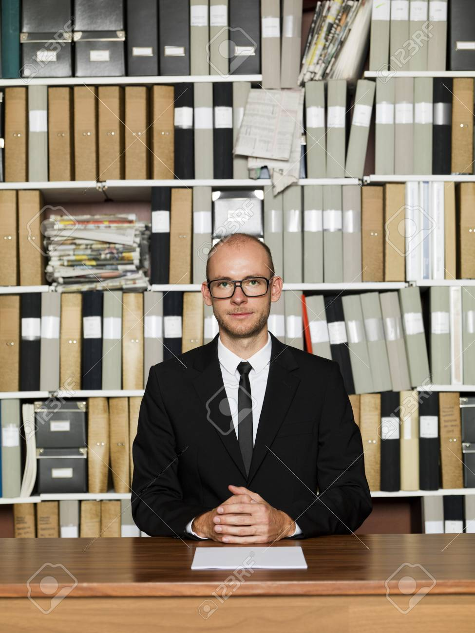 Nerdy Businessman at the office Stock Photo - 16009238