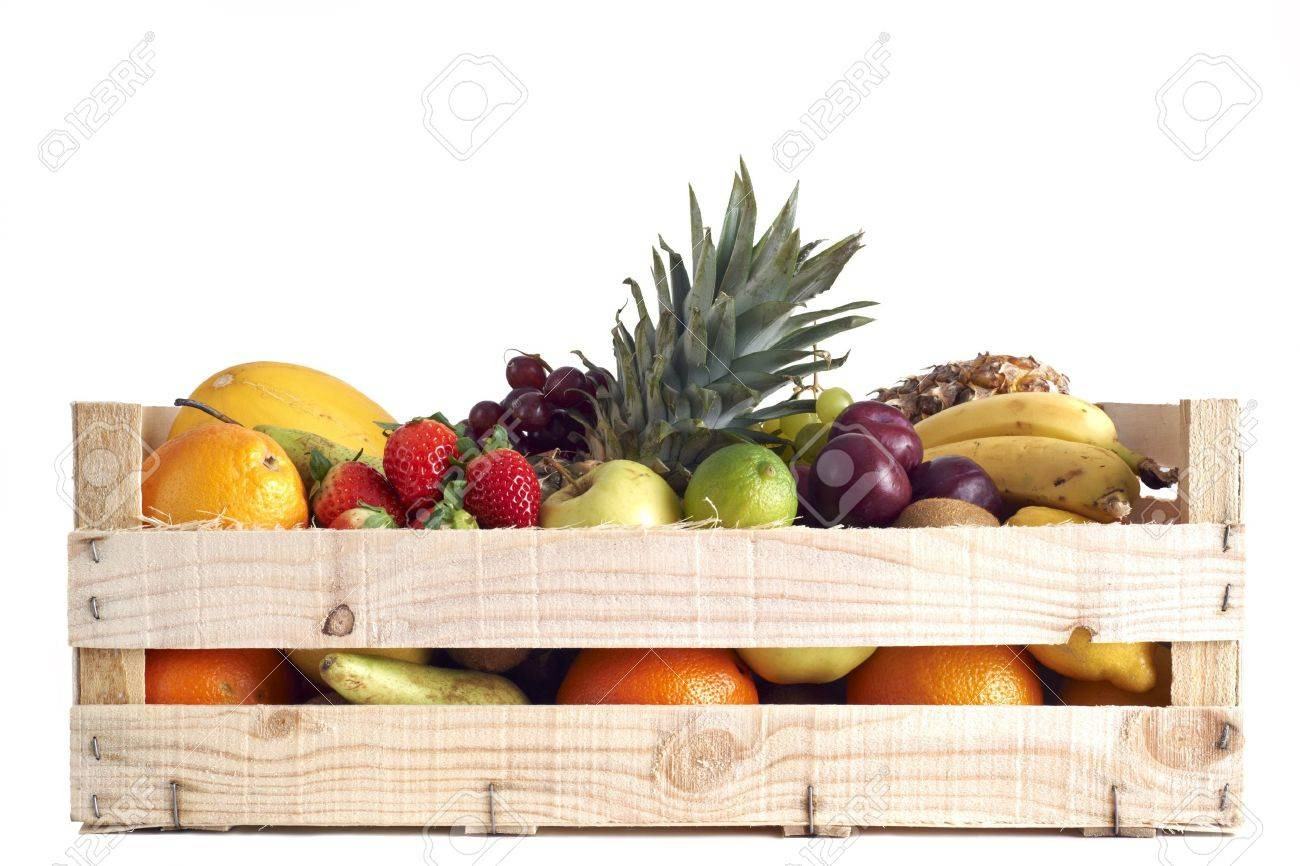 Various types of fruit stored in wooden box on white background Stock Photo - 12681394