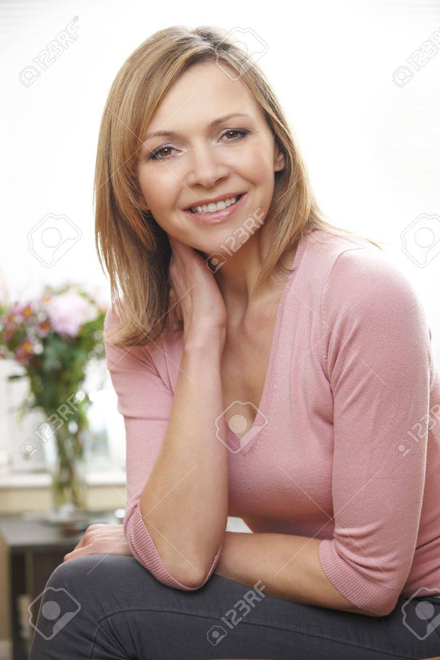 621dc99a2464 Waist Up Portrait Of Mature Caucasian Woman In Her 40's Stock Photo ...
