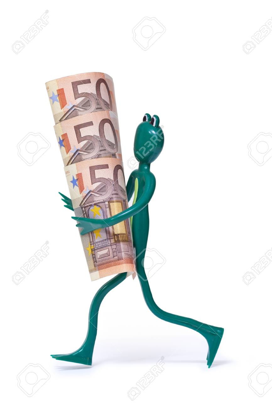 50 Euro Bills And Frog On White Stock Photo Picture And Royalty