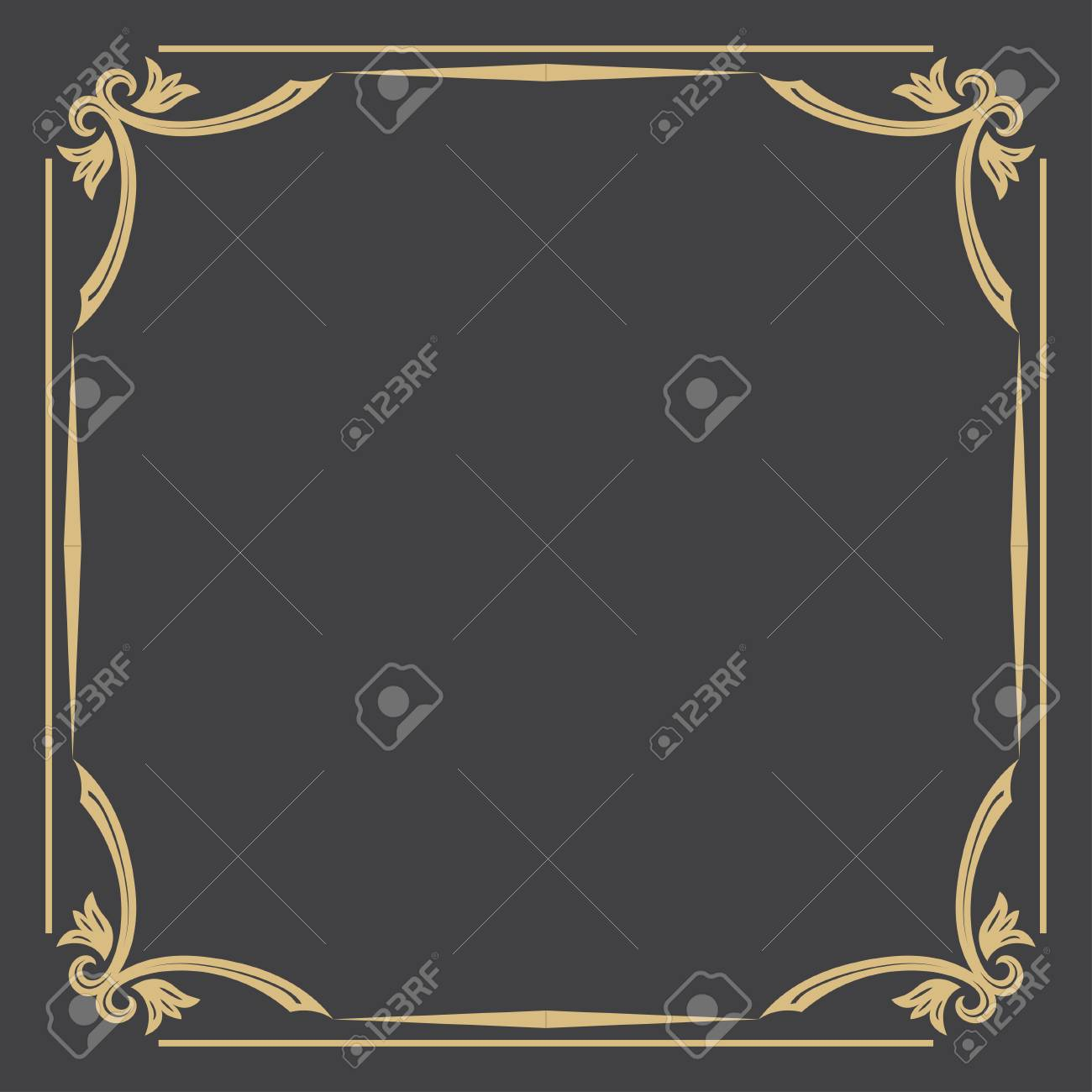 d70c1e42c7ad Thin gold decorative frame. An elegant element of design with the place for  the text