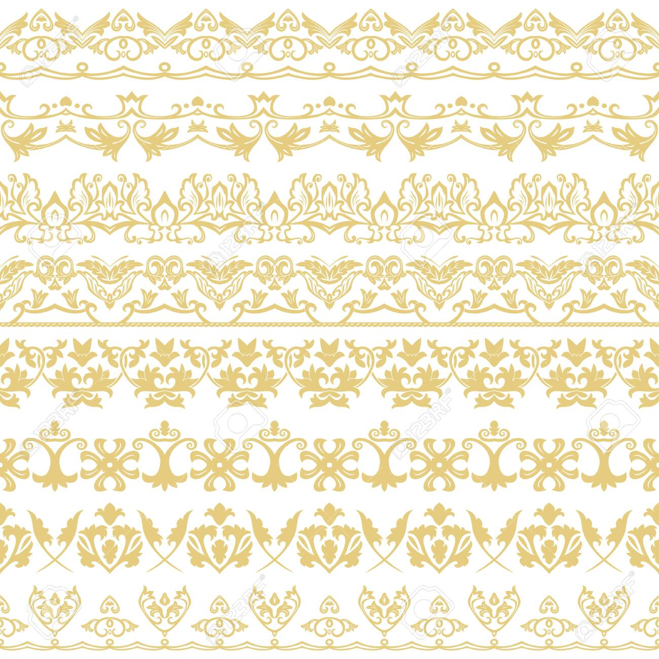 A vector set of dividers in east style. Geometrical elements of design and execution of pages. Vector. - 122848843