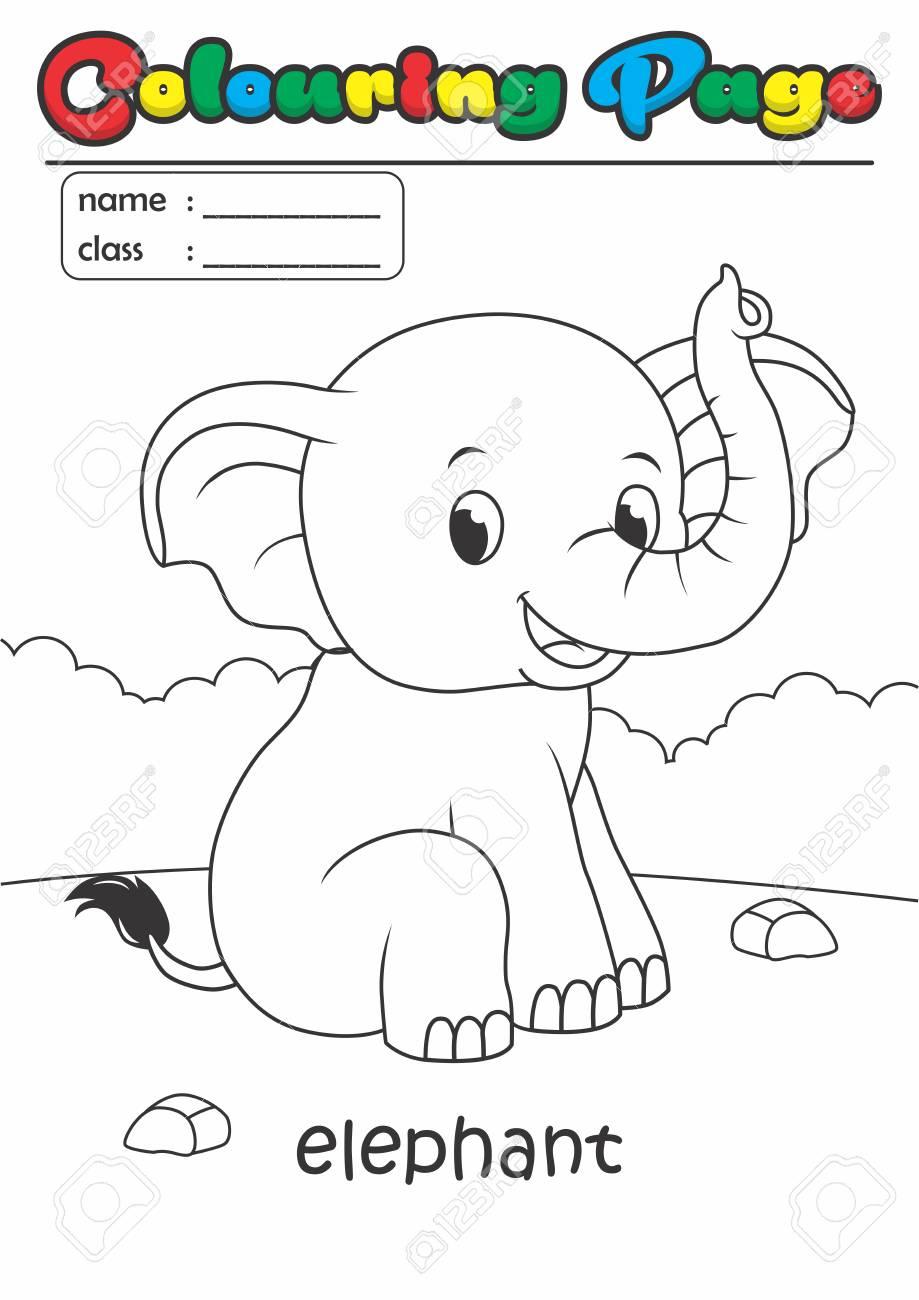 Página Para Colorear / Libro De Colorear Elefante. Grado Fácil ...