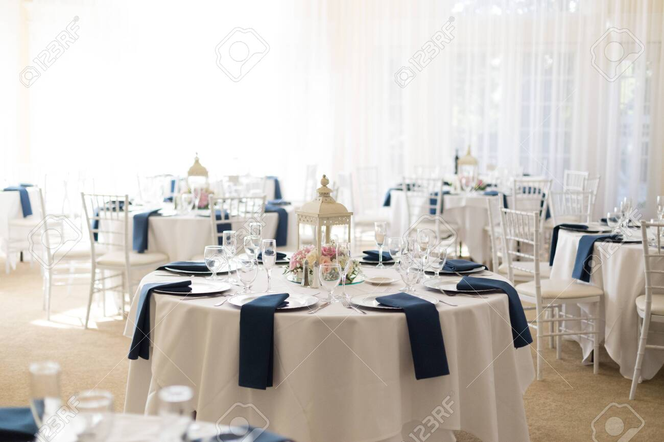 Close Up Of Round Wedding Reception Tables Setup