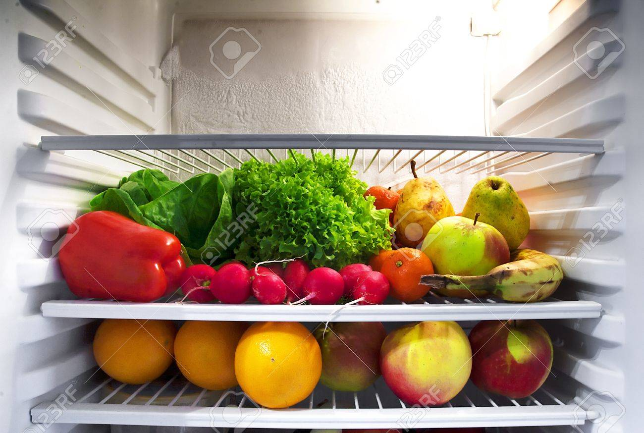 Fresh Fruit And Vegetables In The Fridge Stock Photo Picture And