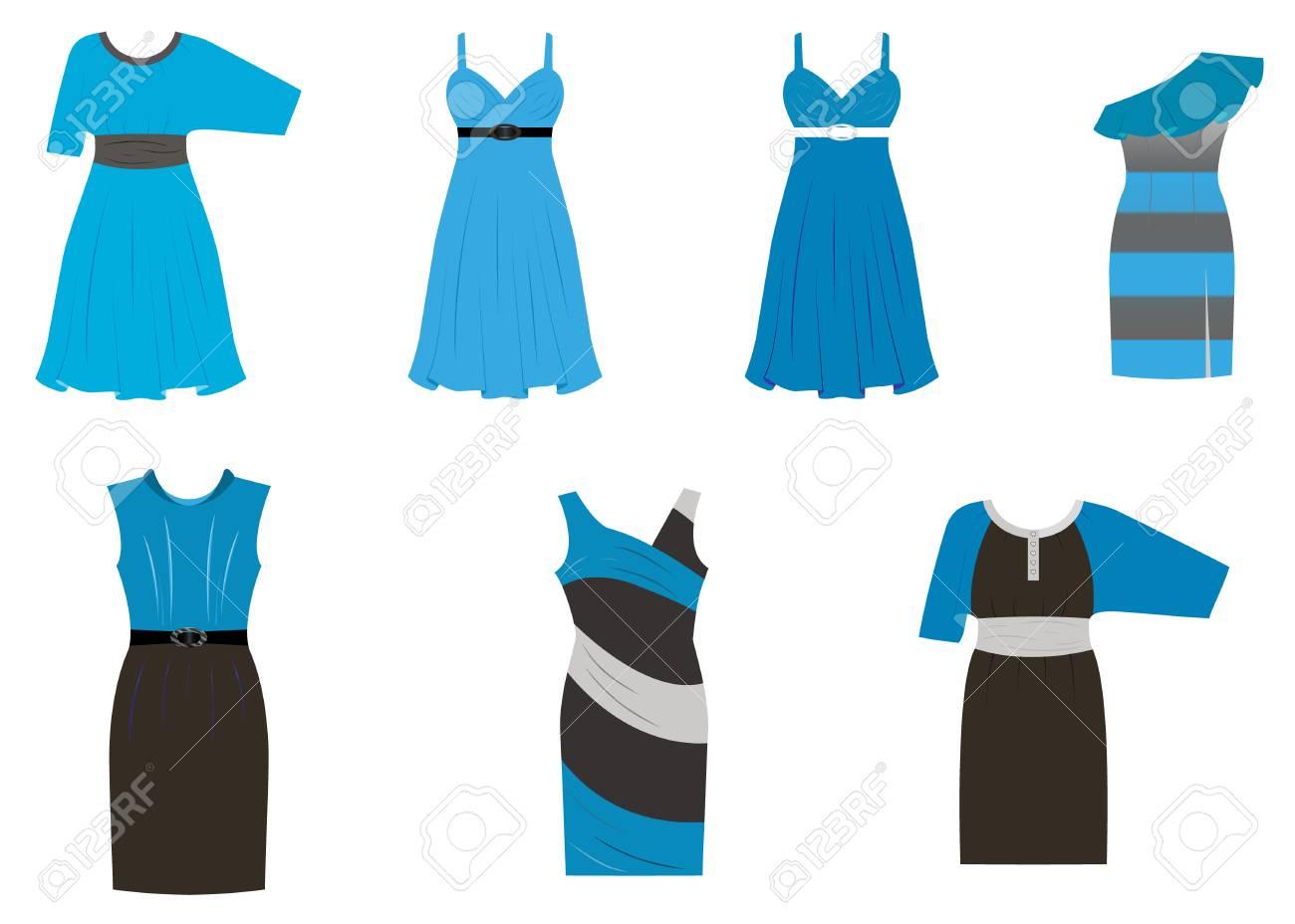 Conjunto De Vestidos En Diferentes Estilos En Cuatro Colores Negro Azul Blanco Gris Ilustración Vectorial Sobre Fondo Blanco