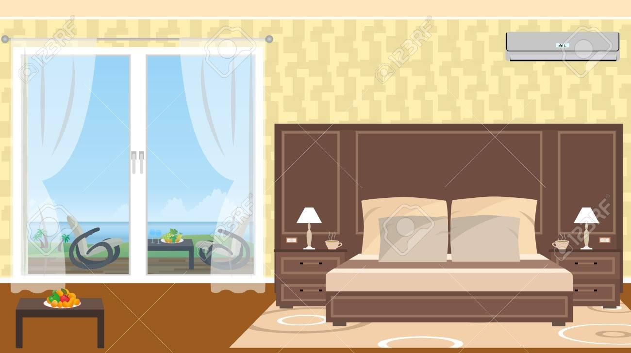 El Interior De La Estación De Habitación De Hotel Con Salida Al Mar Y Muebles En La Terraza Ilustración Del Vector En Estilo Plano