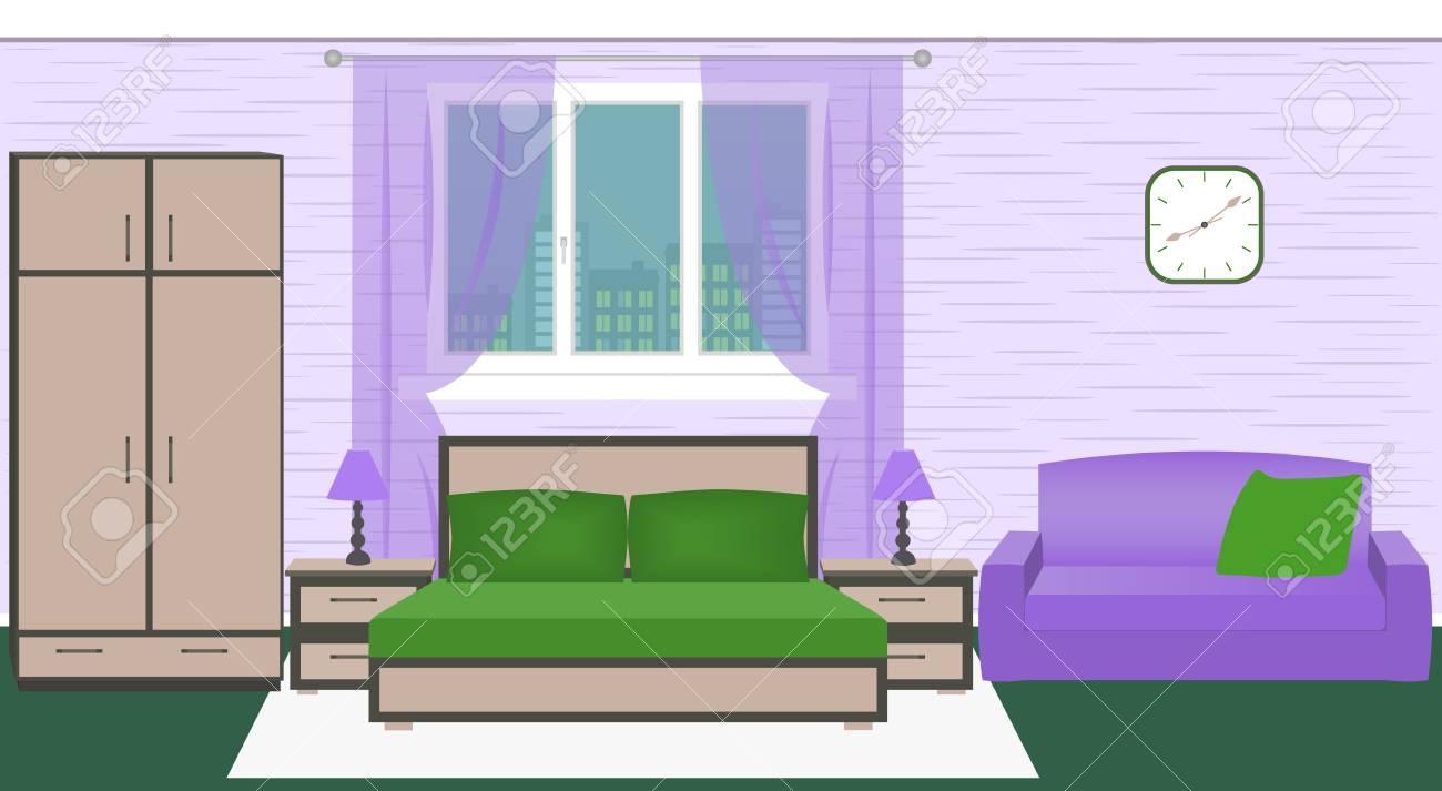 Chambre Hôtel Intérieur Chambre Avec Lit Armoire Canapé Lampes Lumineux Illustration De Vecteur De Couleur Dans Un Style Plat