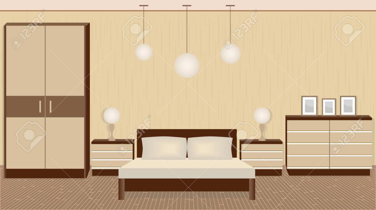 Graceful Schlafzimmer Interieur In Warmen Farben Mit Mobeln Lampen