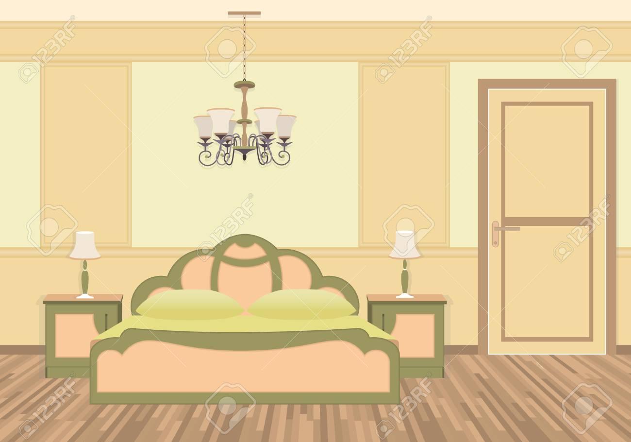 Schlafzimmer Interieur Mit Möbeln Im Klassischen Stil. Helle Farben Flache  Vektor Illustration. Standard