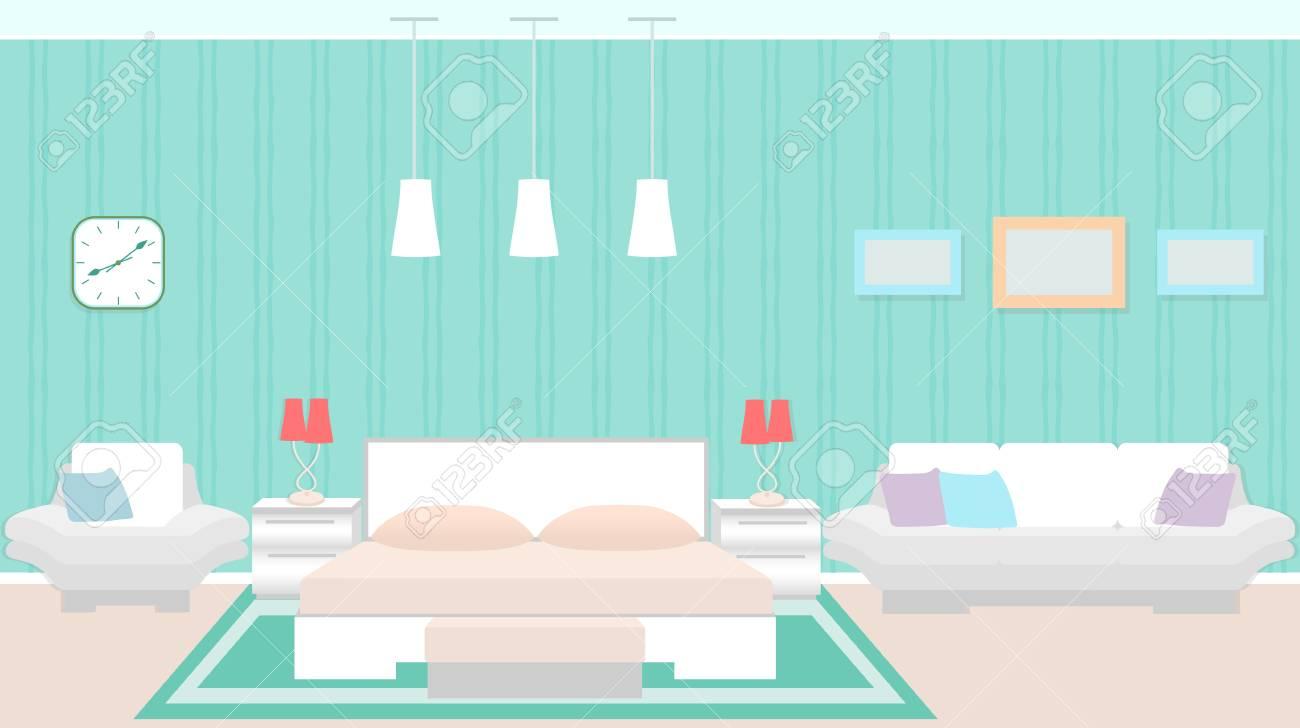 Interiore Moderno Della Camera Da Letto Con Mobilia Compreso La Base La Poltrona Il Sofà Illustrazione Vettoriale Piatto