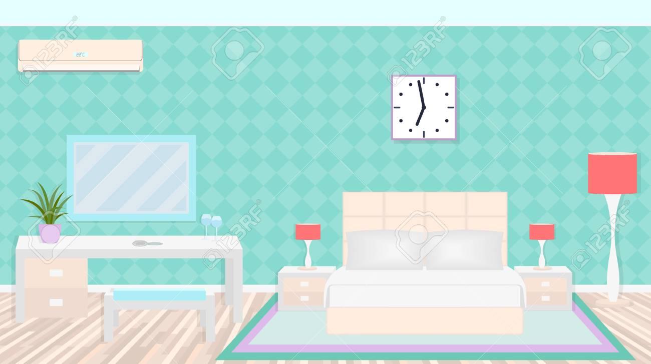 Luxus Schlafzimmer Interieur Mit Möbeln, Licht, Klimaanlage. Flache ...