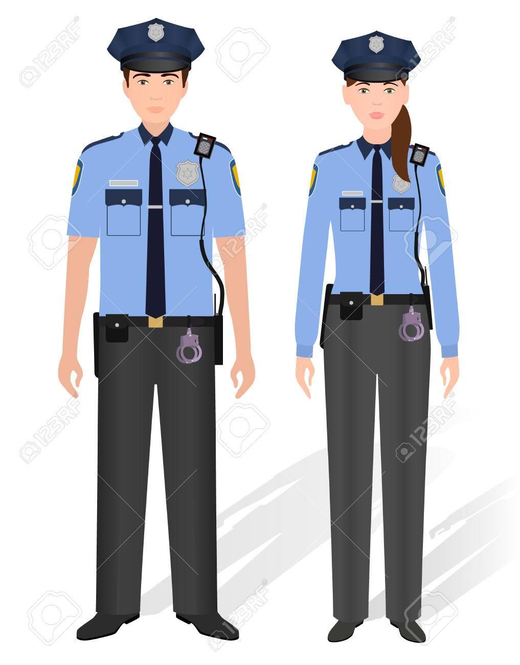 警察官男性と女性は、白い背景で隔離。男と女の巡査。フラット ...