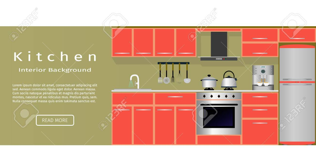 Modern Kitchen Room Interior Banner For Your Web Design Flat