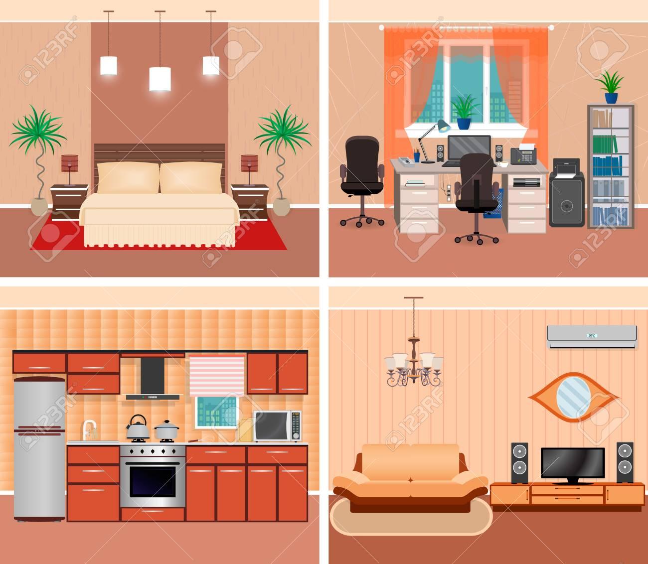 Casa Interior Sala De Estar, Lugar De Trabajo Doméstico, Dormitorio ...