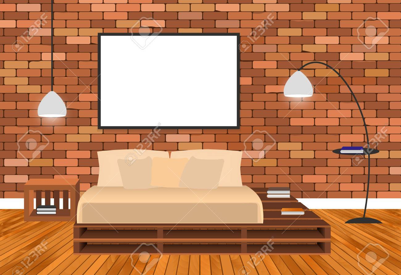 Mockup Living Room Interior In Hipster Style With Empty Frame Bed Lamps And Brick
